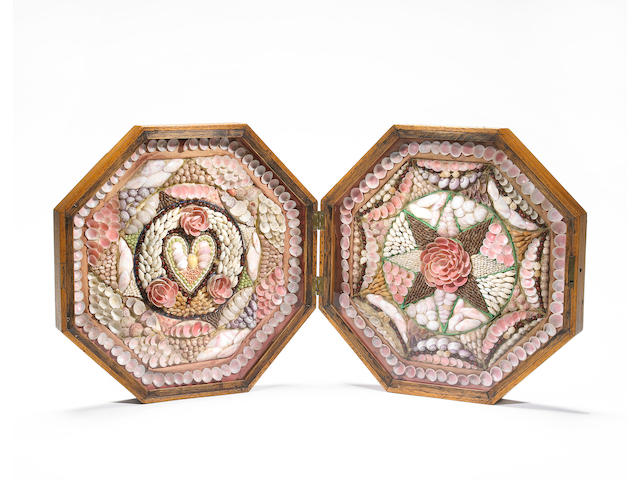 A large 19th century double octagonal sailor's valentine 13.1/2 x 27.1/4 in (34.3 x 69.1 cm.) open.