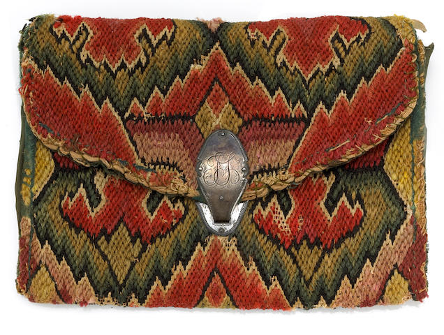 An American silver-mounted flame stitch woolwork purse  inscribed Thomas Stubbs, 1798