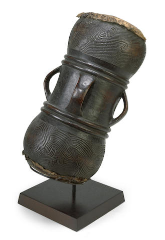A Chokwe drum, Democratic Republic of the Congo height 23in