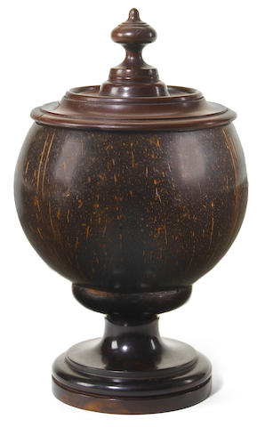 A Hawaiian lidded kou and coconut shell monarchy bowl height 9 3/4in