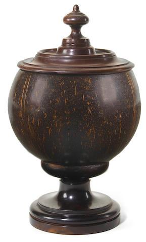 A Hawaiian lidded koa wood and coconut shell monarchy bowl height 9 3/4in