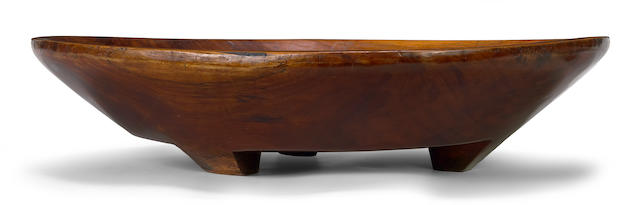 An extremely large Hawaiian kou wood footed meat platter, pa kou length 20 1/4in