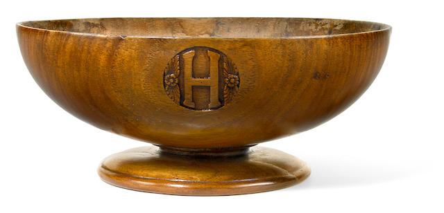 A rare Monarchy pedestal koa wood bowl diameter 11 3/4in, height 4 7/8in