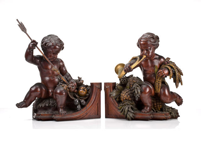 An important pair of American Renaissance carved oak allegorical figures<br>The design attributed to Gustave Herter, the carving attributed to Ernst Plassmann, New York, circa 1853
