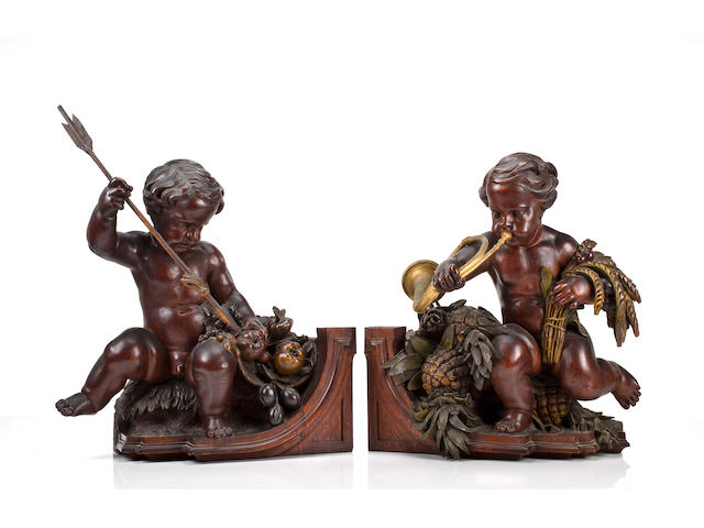 An important pair of American Renaissance carved oak allegorical figures The design attributed to Gustave Herter, the carving attributed to Ernst Plassmann, New York, circa 1853