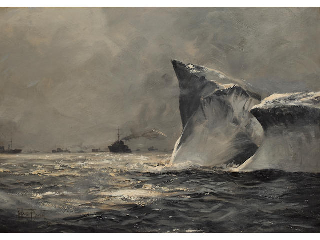 Montague Dawson (British, 1890-1973), circa 1940 Iceberg Danger in the North Atlantic 15 x 21.1/2 in. (38.1 x 54 cm.)