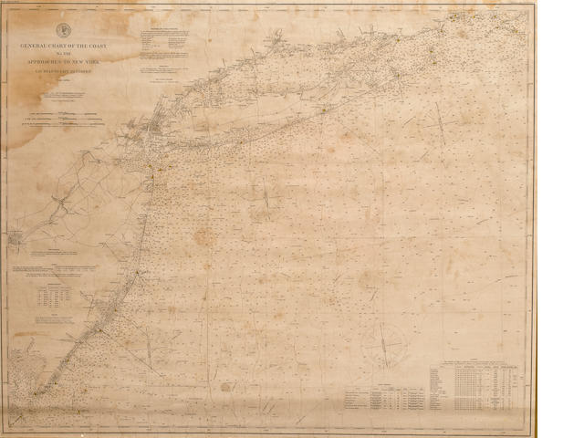 A General Chart of the Coast No. VIII - Approaches to New York circa 1891 31.1/2 x 38.1/2 in. (    cm.) sight.
