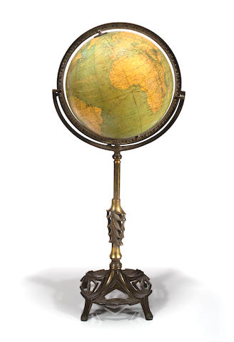 A 12-inch American Art Deco terrestrial floor globe</div> circa 1935 34.1/2 in. (87.6 cm.) height.