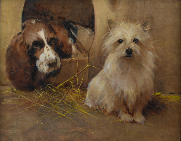 Samuel Fulton (British, 1855-1941) A Springer Spaniel and a Terrier 16 x 20 in. (40.6 x 51 cm.)