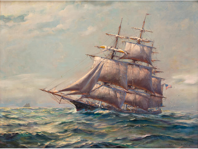 (n/a) Frank Vining Smith (American, 1879-1967) An American Clipper under shrotened sail 28 x 36 in. (71.1 x 91.4 cm.)