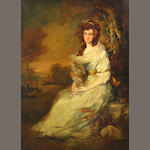 After Thomas Gainsborough A portrait of a lady seated in a landscape 36 1/4 x 25 1/2in