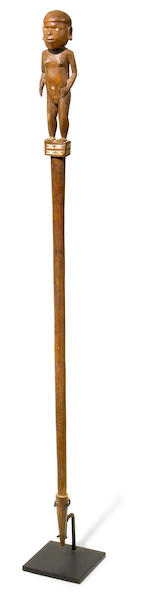 A Solomon Islands figural staff, Solomon Islands height 42in