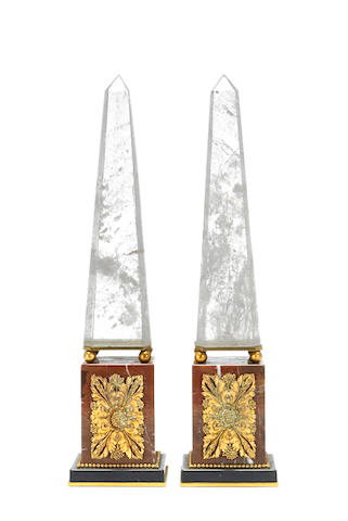 A pair of Neoclassical style gilt bronze mounted rock crystal, rouge and black marble obelisks <br>fourth quarter 20th century