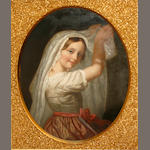 American School Portrait of a young girl with a scarf framed in an oval, sight: 25 3/4 x 21in