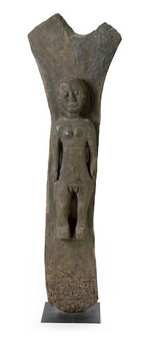 A Dogon Toguna figural post, Mali height 62 1/2in