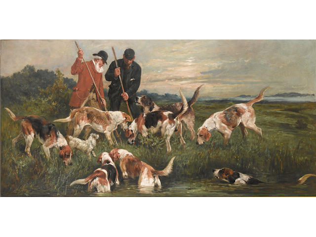 John Emms (British, 1843-1912) The otter hunt 30 x 60 in. (76 x 152.5 cm.)
