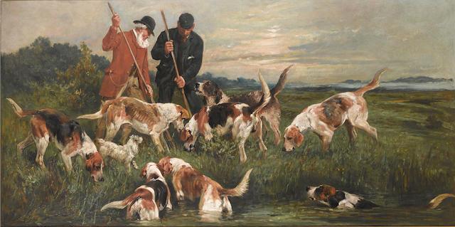 John Emms (British, 1843-1912) The otter hunt 30 x 60 in. (76 x 152.5 cm.)