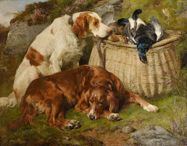 John Sargent Noble, RBA (British, 1848-1896) The day's bag 43 3/4 x 56 3/4 in. (111 x 144 cm.)