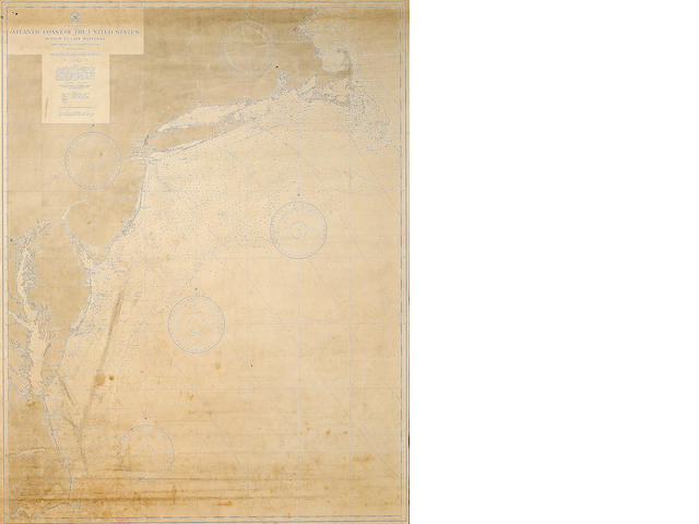 A 19th century chart of Atlantic coast from Boston to Cape Hatteras circa 1885 45.1/2 x 35.1/2 in. (115.6 x 90.2 cm.)