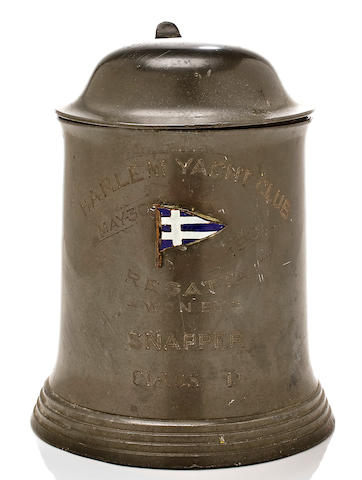 A pewter trophy won by SNAPPER of the Harlem Yacht Club May 30th 1901 5.1/4 in. (13.46 cm.) height.