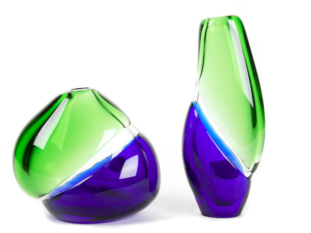 A group of three pieces of art glass
