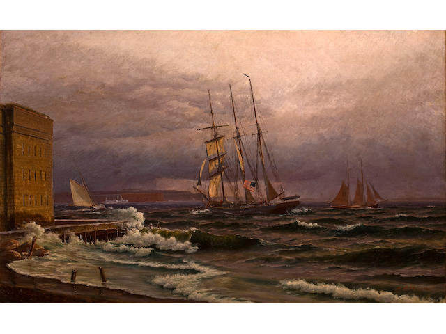 Mathias Jakob Frederik Lütken (Danish, 1841-1905) New York Harbor, 1884 31 x 49 in. (78.7 x 124.5 cm.)