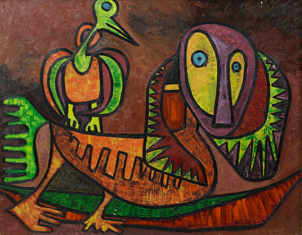 Rufus Ogundele (Nigerian, 1946-1996) Mythical figures 22 1/16 x 28 1/8in (56 x 71.5cm)