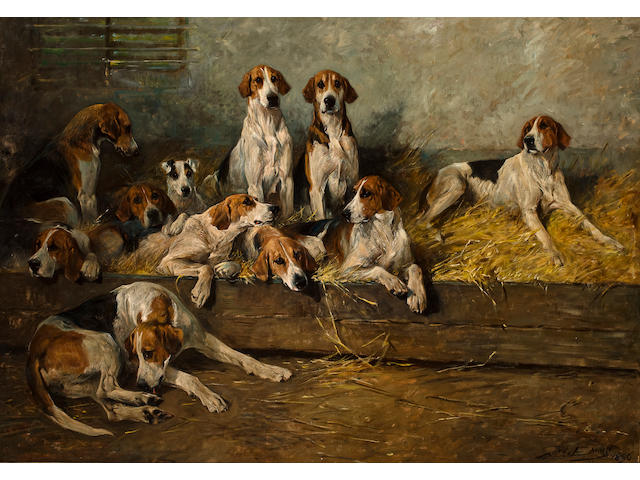 John Emms (British, 1843-1912) The Bitchpack of the Meath Foxhounds 43 3/4 x 62 in. (111.2 x 157.5 cm.)