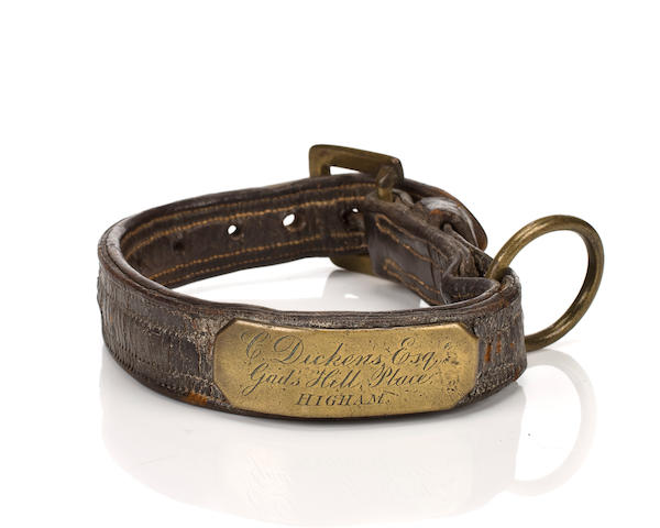 A leather and brass collar belonging to Charles Dickens, British, 19th century