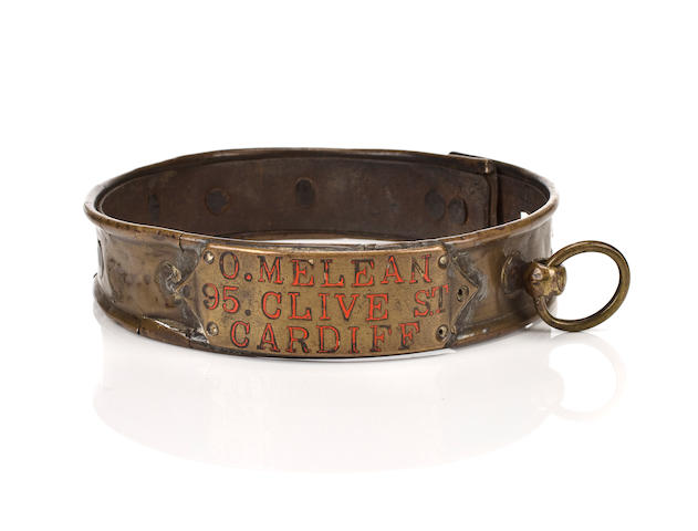 A brass collar, British, 19th century with lead ring and leather liner, inscribed 'O. Melean/95. Clive St./Cardiff', height 1 1/2 in. (3.8 cm.)