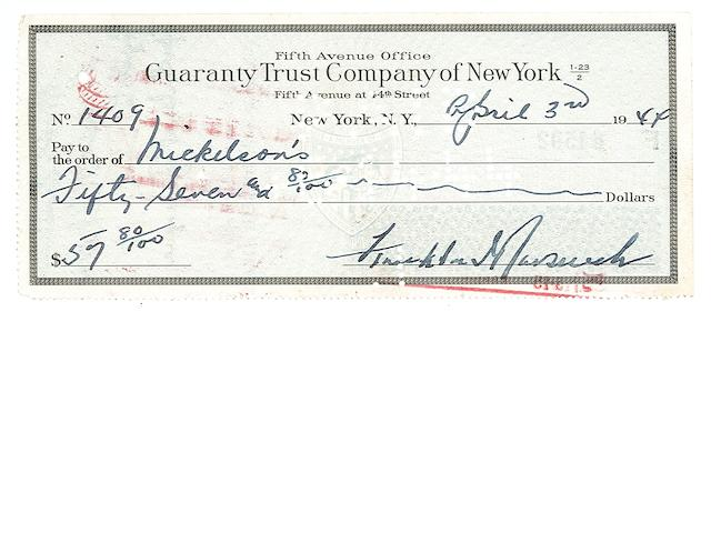 ROOSEVELT, FRANKLIN DELANO.  ck DS April 3 1944 $57.80