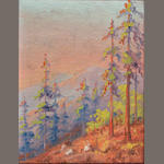 Martella Cone Lane (American, 1875-1962) Pine trees  8 x 6in