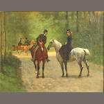 Attributed to John Lewis Brown (French, 1829-1890) Two riders in a park 7 3/4 x 9 1/2in