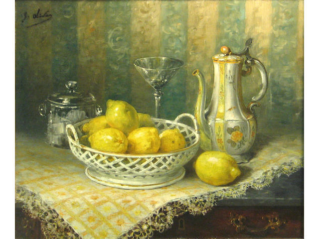 G. Olivier (French) A still life with lemons 18 x 22in