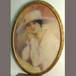 Portrait of a lady with a white hat sight: 27 1/2 x 20 1/2in