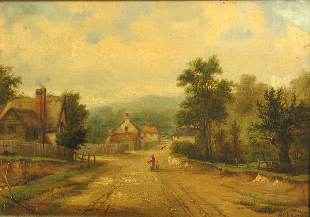 Attributed to Alfred Vickers Sr. (British, 1786-1868) A mother and child on a country road 7 3/4 x 10 3/4in