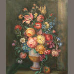 American School Still life with flowers in a vase 30 x 25 1/4in