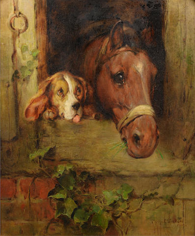 Philip Eustace Stretton (British, 1863-1930) Stable companions 30 1/4 x 25 1/4 in. (77 x 64 cm.)