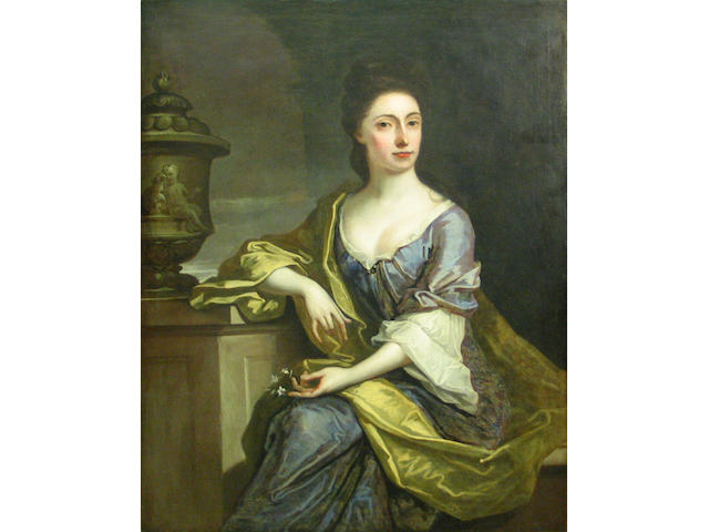 English School, 18th Century A portrait of a lady, three-quarter length, wearing a blue dress with a green wrap 50 x 40in unframed