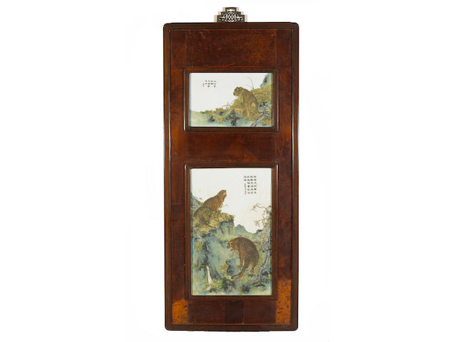 A set of four Chinese porcelain plaques, Republic Period