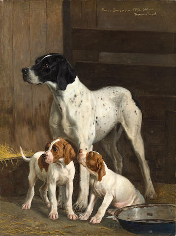 Simon Ludvig Ditlev Simonsen (Danish, 1841-1928) A pointer with two puppies 22 x 16 3/4 in. (56.0 x 42.5 cm.)