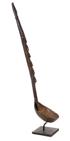 A Sepik River, Murik lakes, wood, fiber and coconut shell spoon, Papua New Guinea  height 24 1/2in