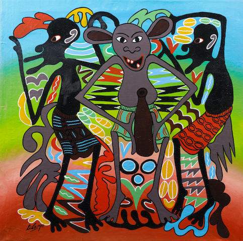 George Lilanga di Nyama (Tanzanian, 1934-2005) Three grey figures 28 3/8 x 28 3/8in (72 x 72cm)
