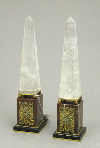 A pair of Neoclassical style gilt bronze mounted rock crystal, rouge and black marble obelisks fourth quarter 20th century