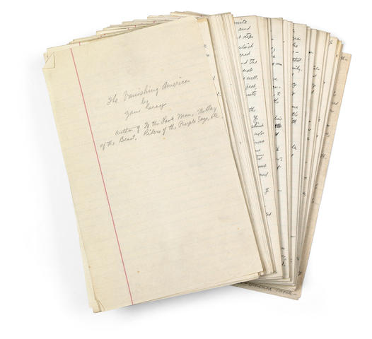 "GREY, ZANE. 1872-1939. Autograph Manuscript Signed (""Zane Grey""), in pencil, 513 pp, legal folio, n.p., [1922],"