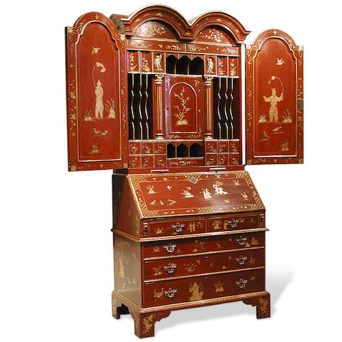 A George I style lacquered and parcel gilt bureau bookcase