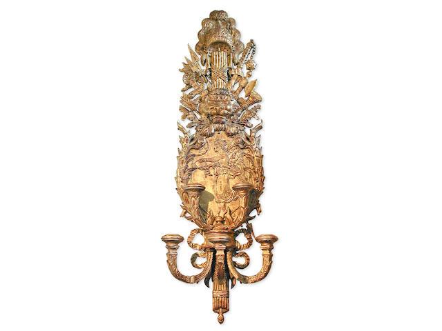 A superb George II style giltwood girandole