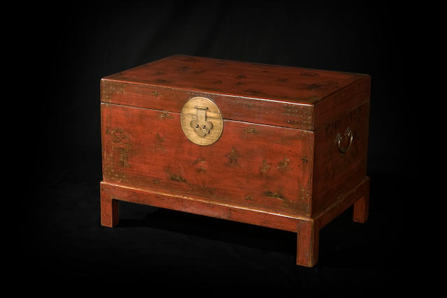 A Chinese lacquered box on later stand  19th century