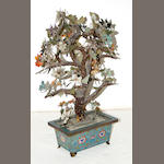 A pair of Chinese mixed hardstone flowering trees in cloisonné enameled metal planters