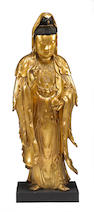 A large lacquered wood standing figure of Guanyin  19th Century
